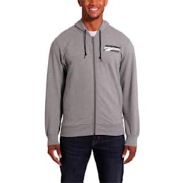 Rebel Men's Hooded Jacket, Medium Gray Heather, small