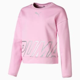 Alpha Crew Neck Girls' Pullover, Pale Pink, small-SEA