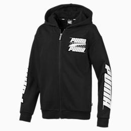 Rebel Bold Boys' Hooded Jacket, Cotton Black, small