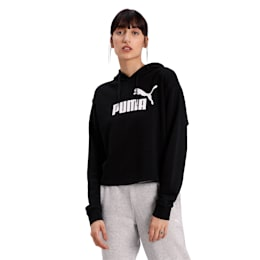 Essentials+ Cropped Women's Hoodie, Cotton Black, small-IND