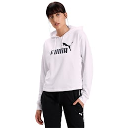 Essentials+ Cropped Women's Hoodie, Puma White, small-IND