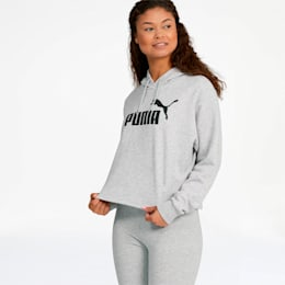 Essentials+ Women's Cropped Hoodie, Light Gray Heather, small