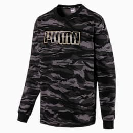 Camo Men's Fleece Crewneck Sweatshirt, Cotton Black-Gold, small