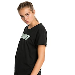 Modern Sports Women's Tee, Cotton Black-Fair Aqua, small-SEA
