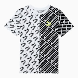 Graphic Boys' AOP Tee JR, PUMA BLACK/WHITE, small