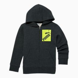 Amplified Little Kids' Fleece Zip Up Hoodie, BLACK HEATHER, small