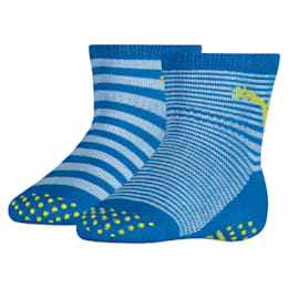 PUMA Anti-Slip Abs Babies' Socks (2 Pack), blue green combo, small