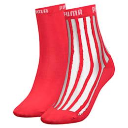 Confezione da 2 paia di calze trasparenti corte a righe donna, pink / red, small
