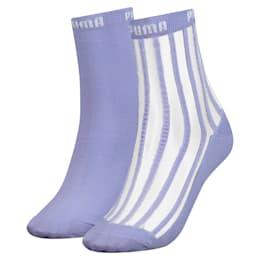 Transparente, stribede, korte sokker til kvinder, 2-pak, pastel lavender, small