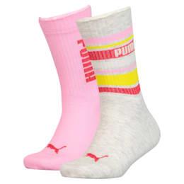 Stripe Girls' Socks 2 Pack, pink combo, small