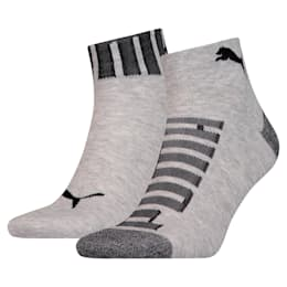 Logo Welt Men's Quarter Socks 2 Pack, mid grey / black, small
