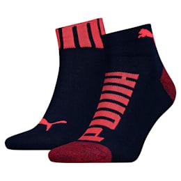 Logo-Bund Herren Quarter Socken 2er Pack, blue / red, small