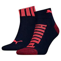 Lot de deux paires de chaussettes un quart Logo Bund pour homme, blue / red, small
