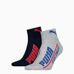 PUMA Logo Men's Quarter Socks (2 pack), blue combo, small