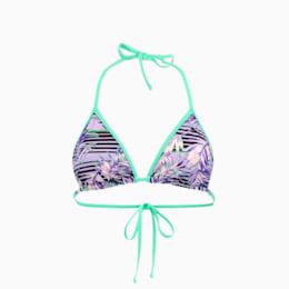 PUMA Swim Damen Gemustertes Triangel Bikinitop