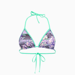 PUMA Swim Women's Patterned Triangle Bikini Top