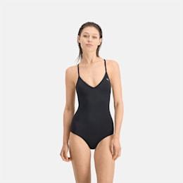 PUMA Swim Women's V-Neck Crossback Swimsuit, black, small
