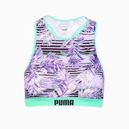 PUMA Swim Damen Gemustertes Racerback Bikinitop