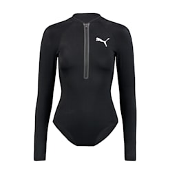 PUMA Swim Women's Long Sleeve Surf Suit, black, small