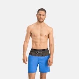 PUMA Swim Men's 2-Colour Logo Medium Length Swim Shorts, blue / grey, small