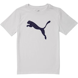 Boys' Cotton Jersey Heather Tee JR, PUMA WHITE, small
