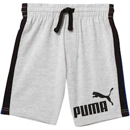 Little Kids' Cotton Heavy Jersey Pieced Shorts, LIGHT HEATHER GREY, small