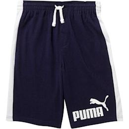 Shorts con retazos Cotton Heavy para niño joven, PEACOAT, pequeño