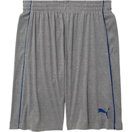 Boys' Poly Interlock Pieced Shorts JR, LIGHT HEATHER GREY, small