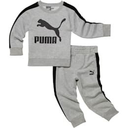 Infant + Toddler Graphic Cotton Fleece Set, LIGHT HEATHER GREY, small