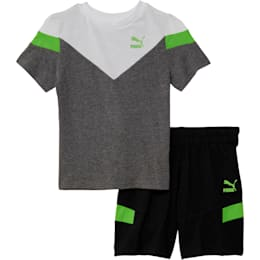 Toddler Cotton Tee and Short Set, CHARCOAL HEATHER, small