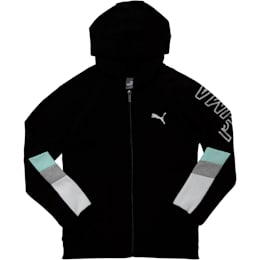 Girls' Fleece Colorblock Full Zip Hoodie JR, PUMA BLACK, small