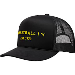 Core Mesh Trucker Hat, BLACK / YELLOW, small