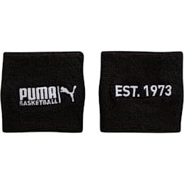 PUMA Basketball Sweat Wrist Bands, BLACK / WHITE, small