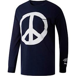 PUMA Peace + Love x MIA x Josh Vides Men's Classic Long Sleeve Pocket T-Shirt, Navy, small