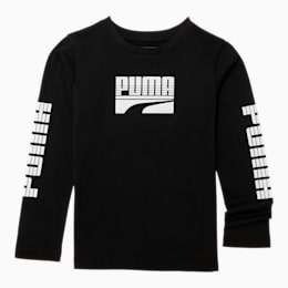 Rebel Little Kids' Long Sleeve Graphic Tee, PUMA BLACK, small
