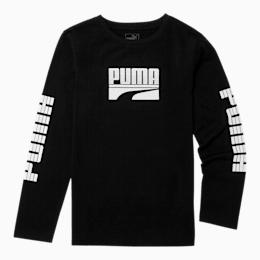 Rebel Boys' Long Sleeve Graphic Tee JR, PUMA BLACK, small