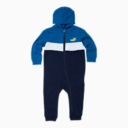 Colorblocked Fleece Infant Zip Up Hoodie Coverall, GALAXY BLUE, small