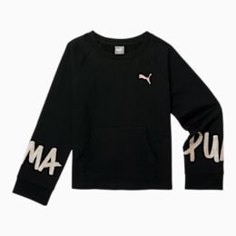 Tag Girls' French Terry Crewneck Sweatshirt JR, PUMA BLACK, small