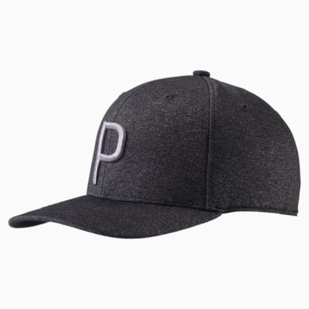 Golf Men's P Snapback Cap, Puma Black Heather, small-SEA