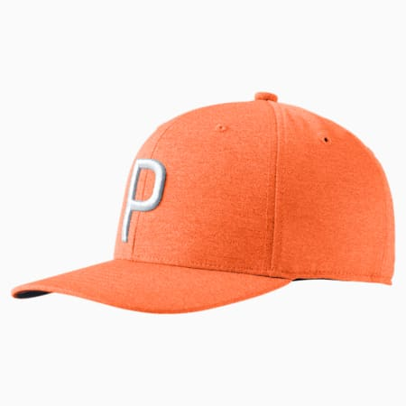 Golf Men's P Snapback Cap, Vibrant Orange, small