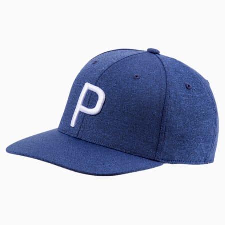 P Snapback Hat, Peacoat Heather, small
