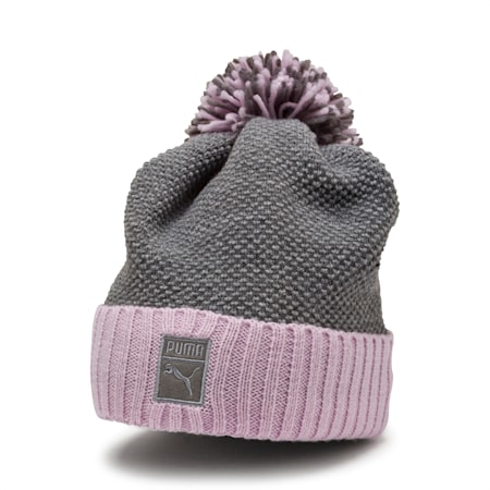 ARCHIVE Pom beanie, Light Gray Heather-W. orchid, small-IND