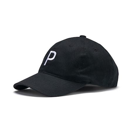 """Gorra ajustable """"P"""" para hombre, Puma Black, pequeño"""