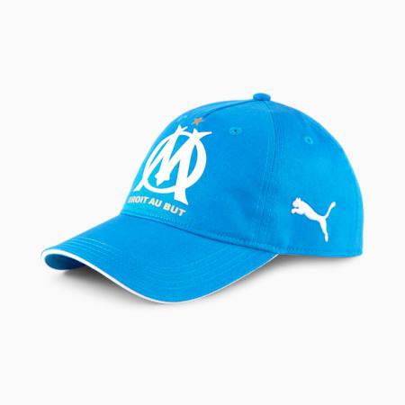 OM Team Football Cap, Puma Black-Bleu Azur, small-GBR