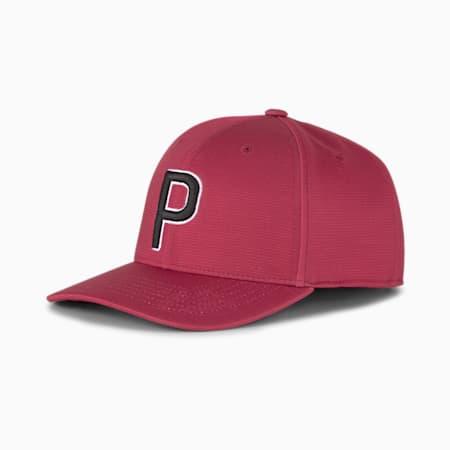P Snapback Men's Golf Cap, Persian Red-Puma Black, small-SEA