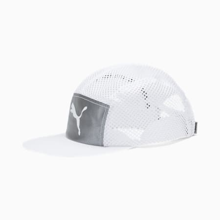 Foldable Trail Running Cap, Puma White-Silver-reflective, small