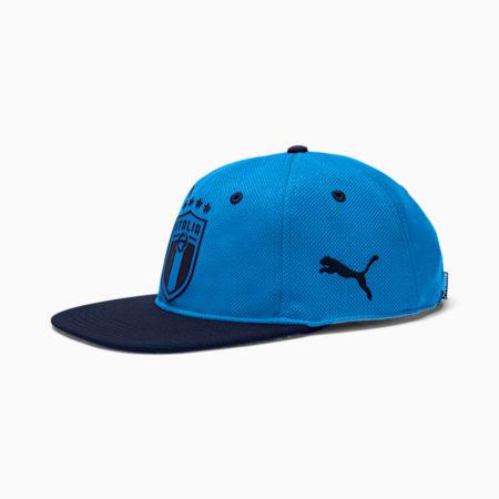 Italia Flat Brim Football Cap, Team Power Blue-Peacoat, small
