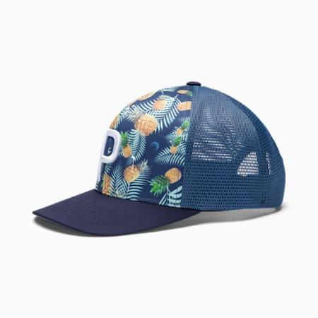 P 110 Pineapple Herren Golf Trucker Cap, Dark Denim, small
