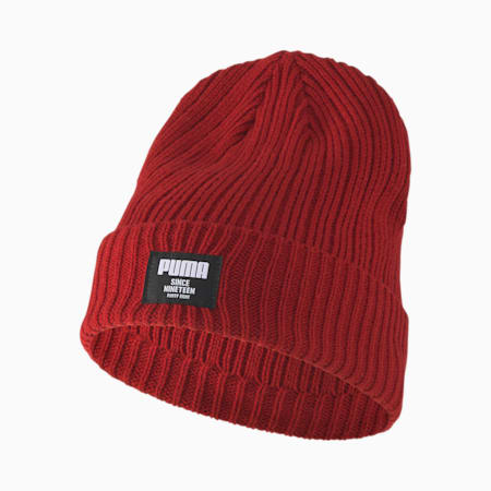 Classic Ribbed Beanie, Red Dahlia, small