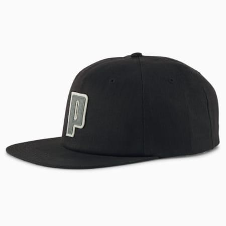 P Appliqué Flat Brim Cap, Puma Black, small